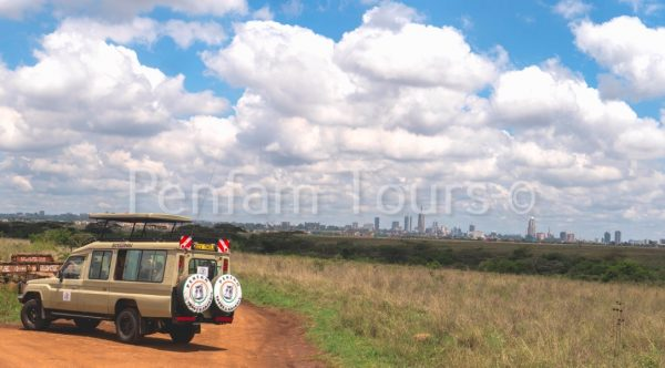 Penfan Tours 4x4 Landcruiser tour van at Nairobi National Park